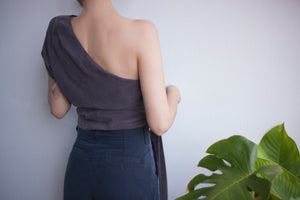 Paloma one shoulder top in Chocolate