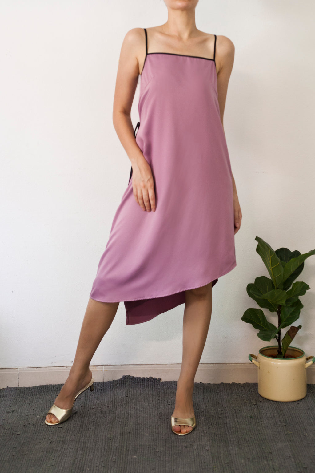 Circe backwrap spag dress in Dusk