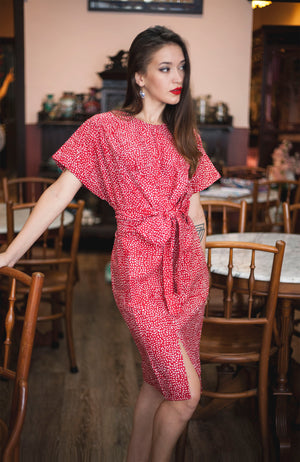 Nymphea kimono dress in Confetti Red