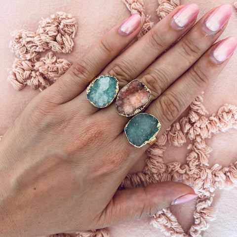 Constellation natural druzy ring