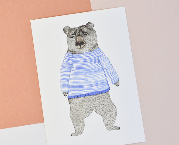 ATELIER MAVE - Bear with Stripes Art Print