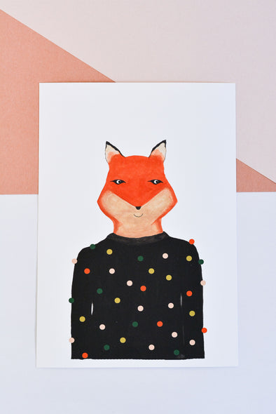 ATELIER MAVE - Fox with Sweater Art Print