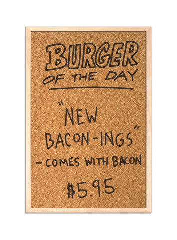 Burger of the Day A4 Corkboard / Pinboard / noticeboard