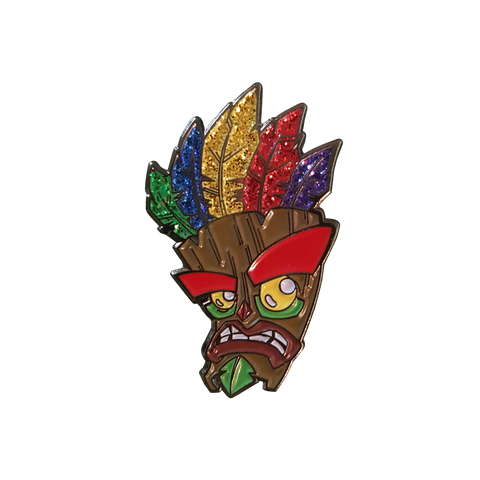 Crash 'Glitter' Aku Aku Mask Pin Badge