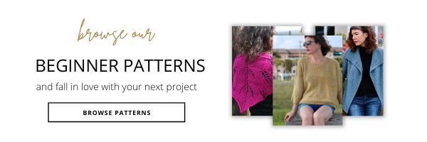 Image of 3 beginner patterns; a blue garter stitch cardigan, a pink lace shawl and a yellow sweater