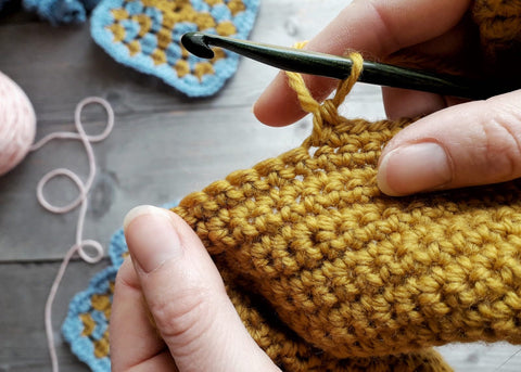 mustard crocheted fabric with hook