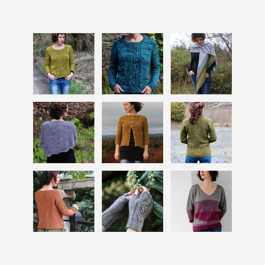 A 3x3 grid of 9 stolen stitches knitting patterns.