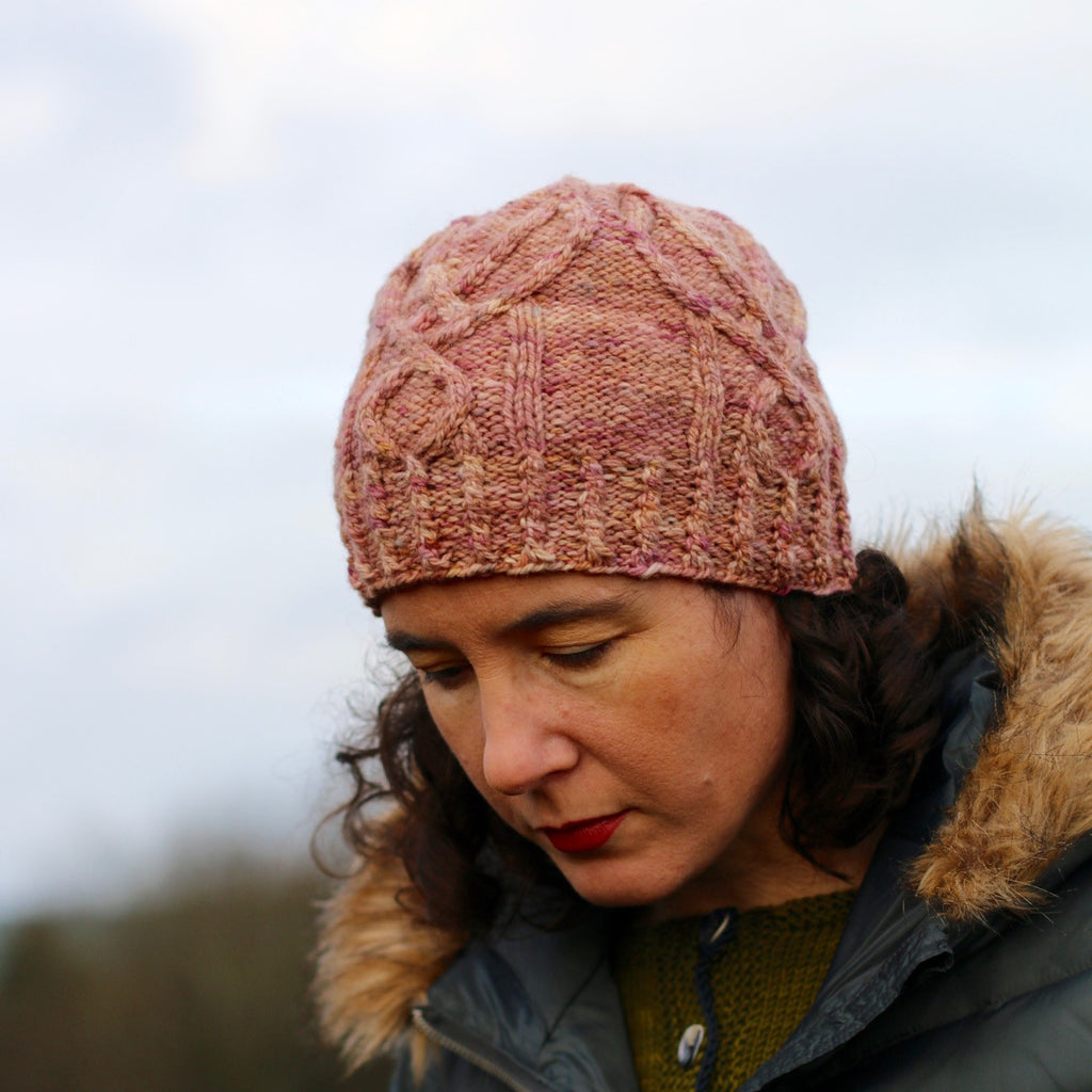 Chevet Hat pattern by Carol Feller in Studio donegal Soft