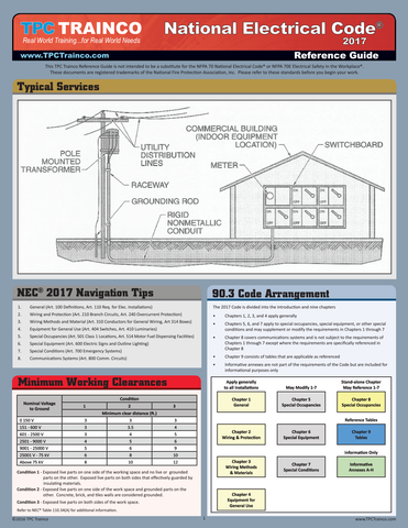 National Electrical Code 2017 Quick Reference Guide