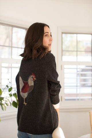 Nory baby alpaca embroidered chicken cardigan