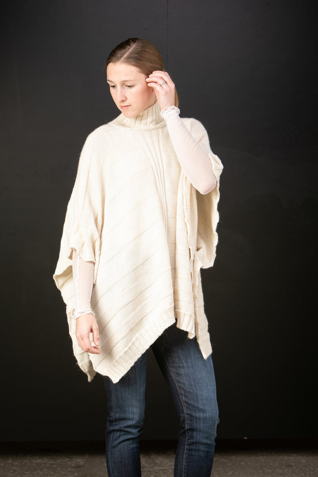 Amalfi baby alpaca ribbed turtleneck poncho in Snow - side view