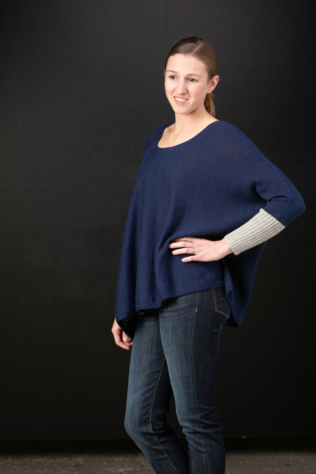 Rayzel Pleat Neck Sweater in Deep Sea