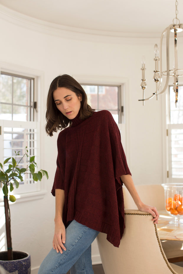 Amalfi Turtleneck Poncho in Ruby