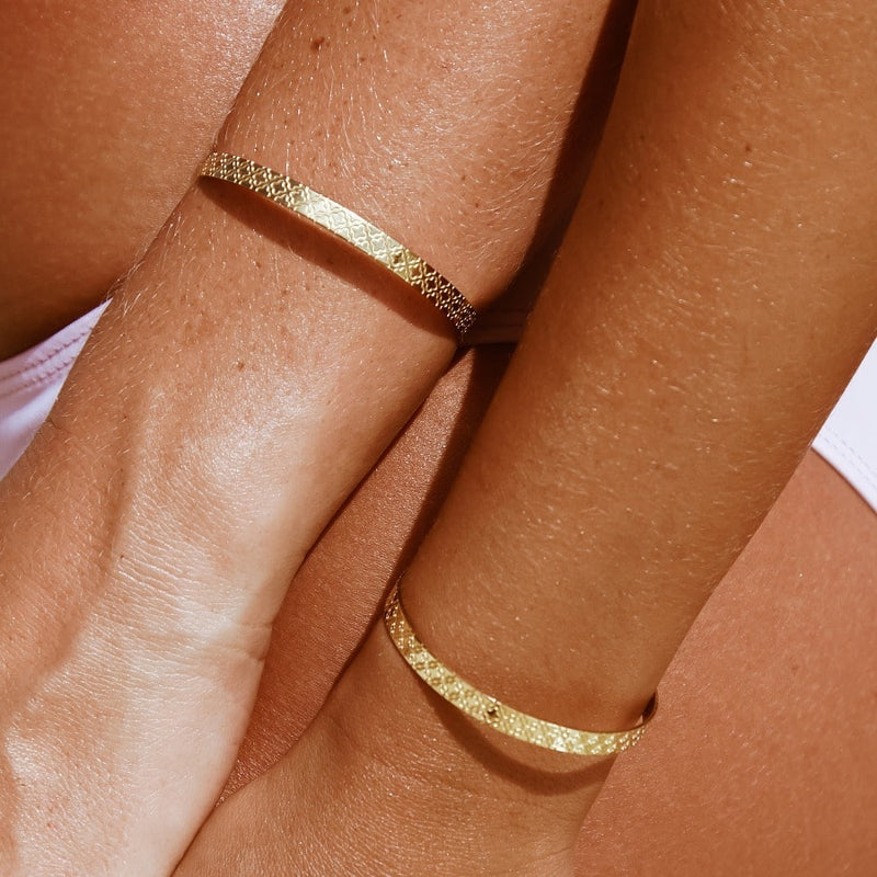 Stack It - Floral Gold Cuff x3