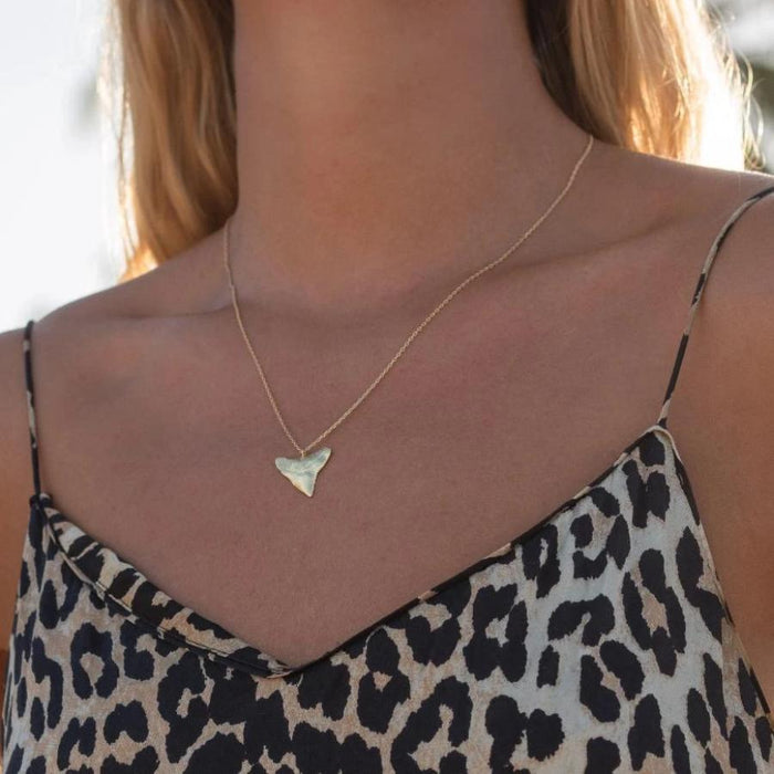 Shiny Gold Shark Tooth Necklace
