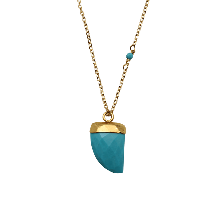 Turquoise Tiger Tooth Necklace