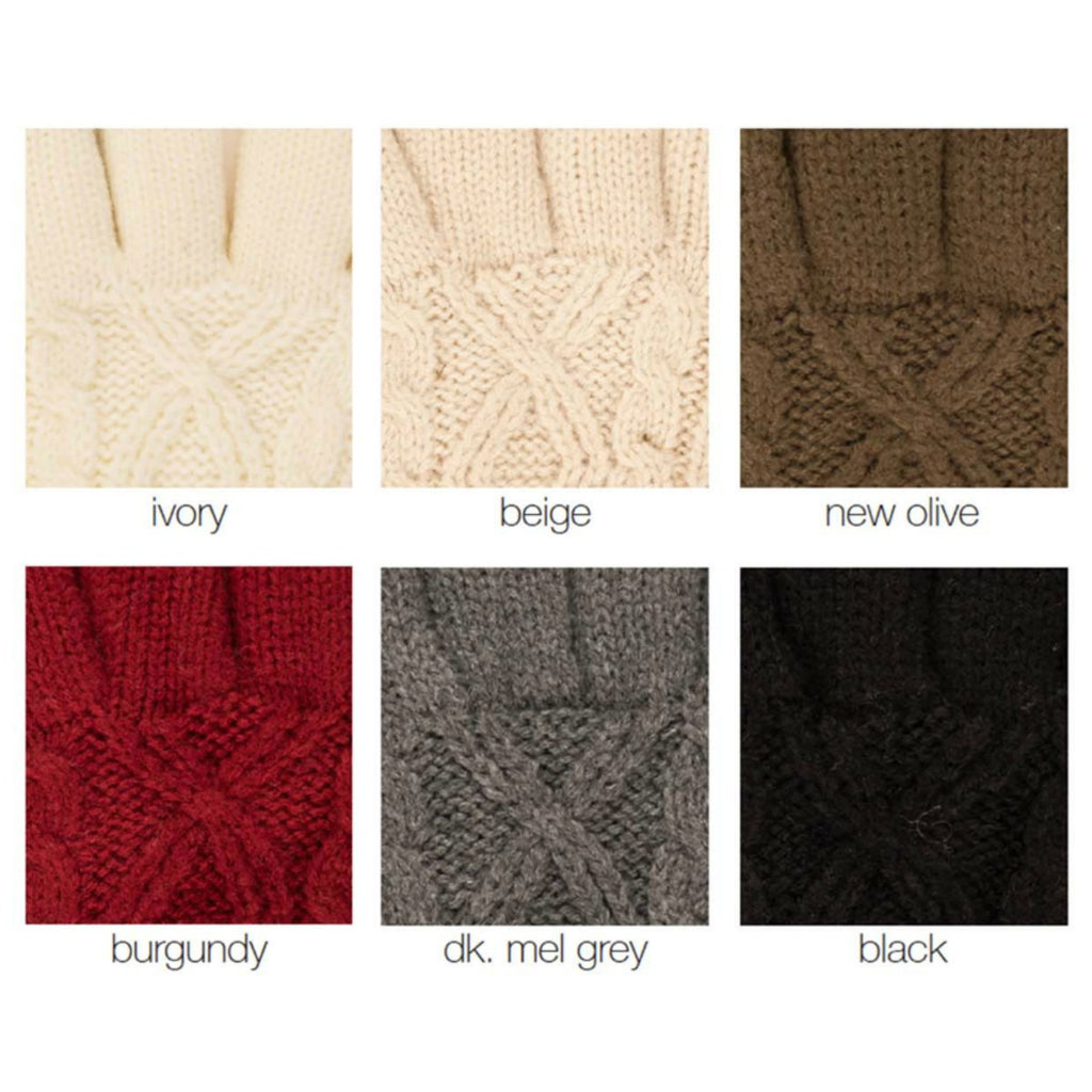 CC® Cable Knit Fur Lined Gloves
