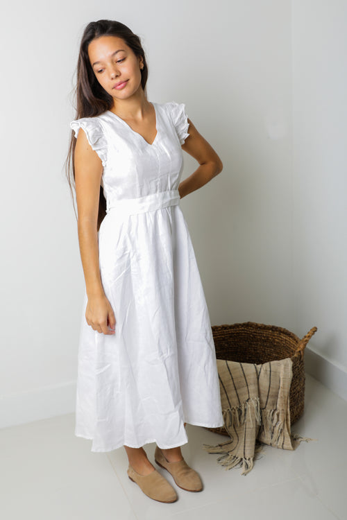 Sophia Midi Dress in White Linen