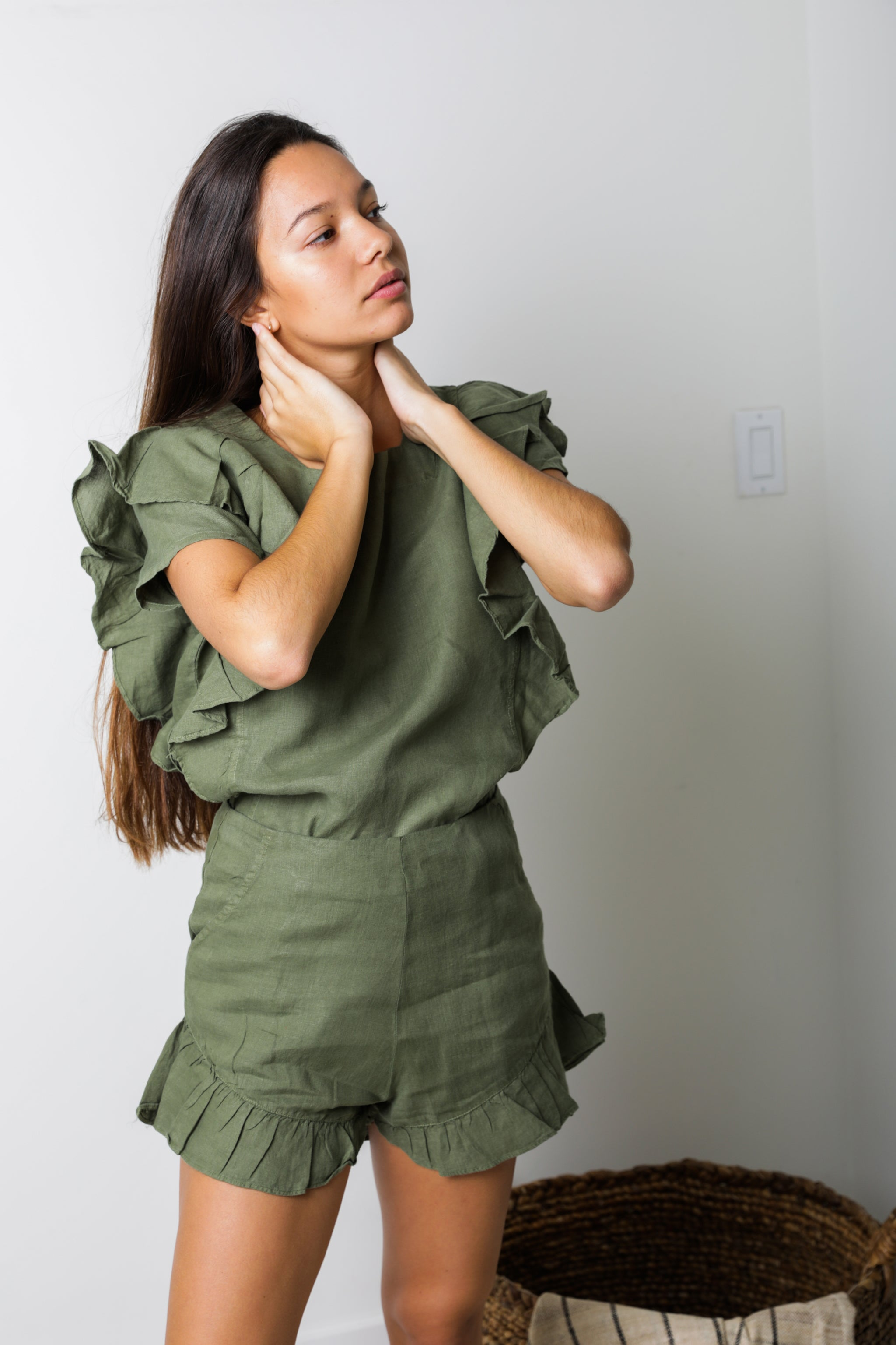 Dubai Ruffle Top in Olive Linen