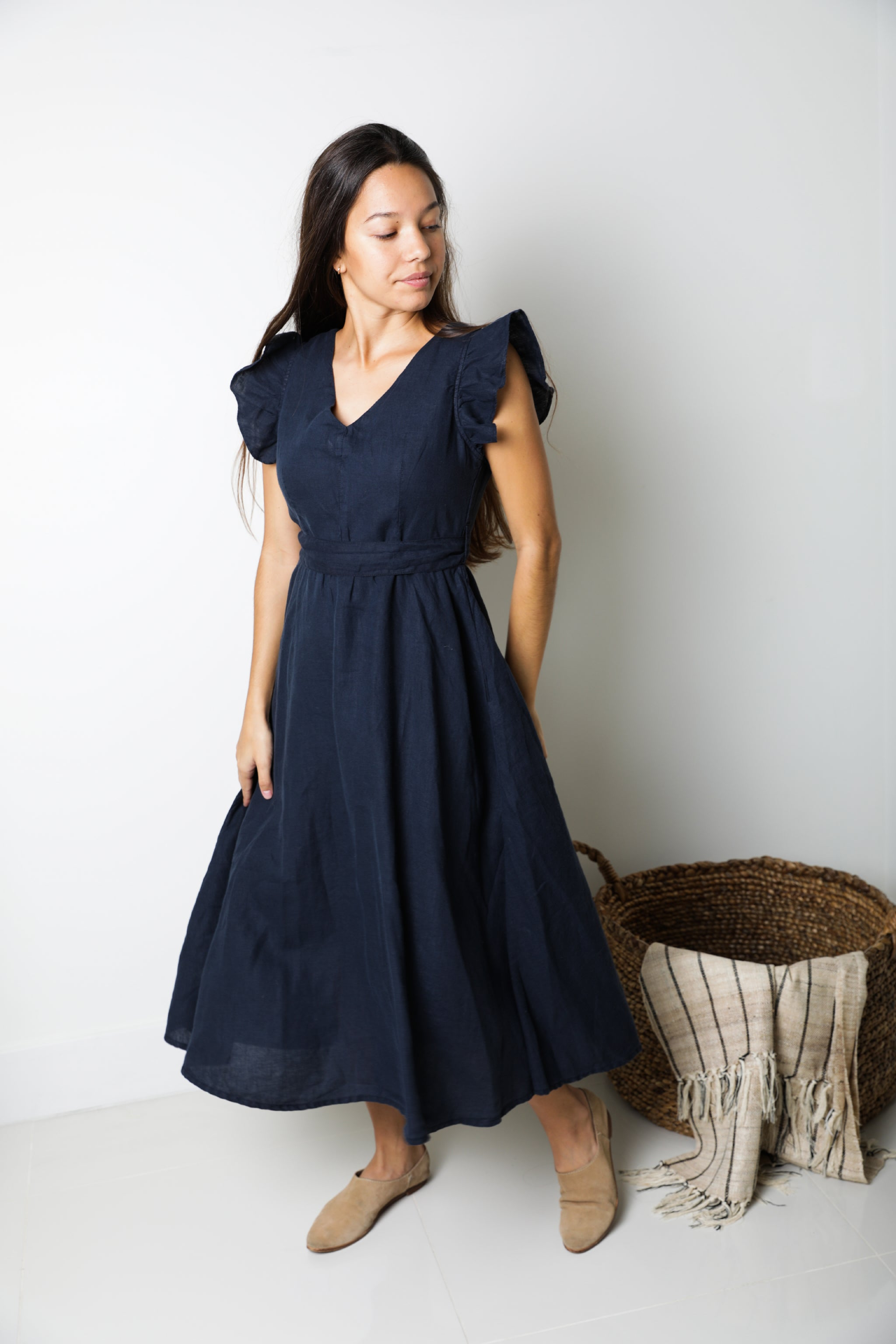 Sophia Midi Dress in Night Blue Linen