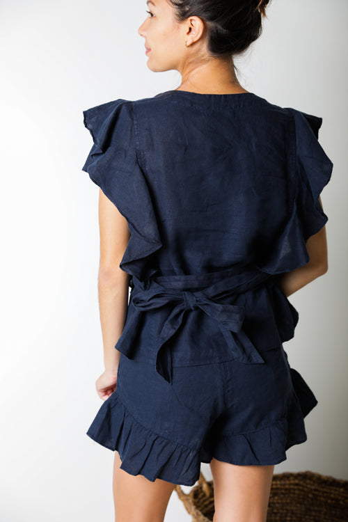 Dubai Ruffle Top in Night Blue Linen
