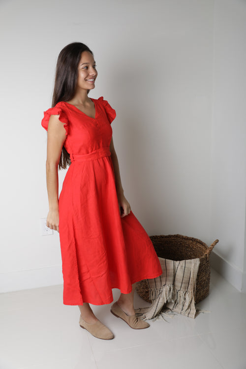 Sophia Midi Dress in Red Linen