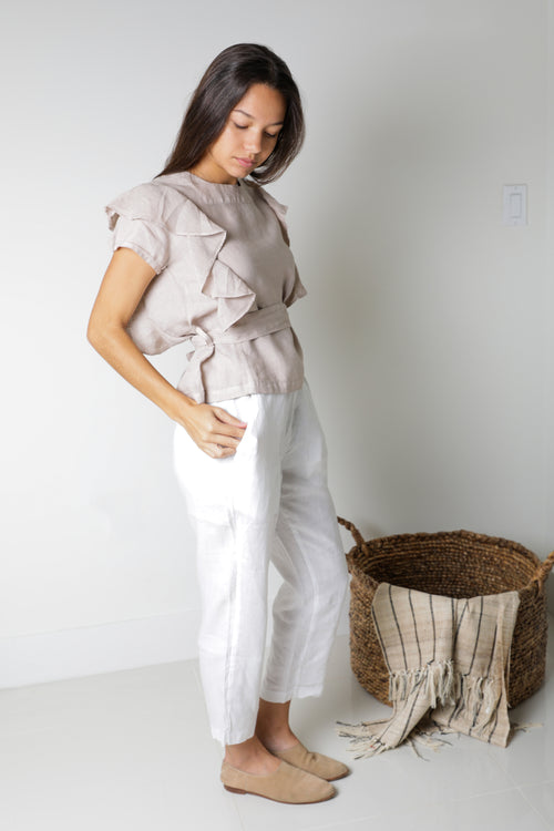Dubai Ruffle Top in Natural Linen
