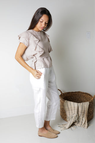 Naomi Off-Shoulder Tie-Front Top in Natural Linen