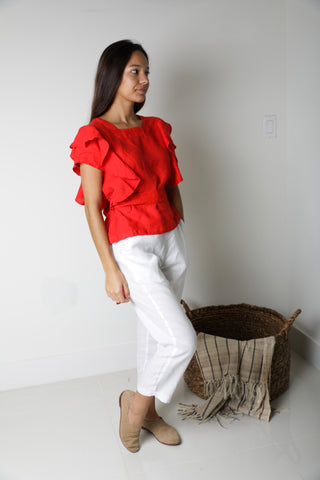 Gypsy Flare Pant in Bright Red Linen