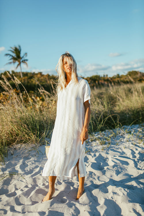 Tulum Caftan in Beige Stripes Linen