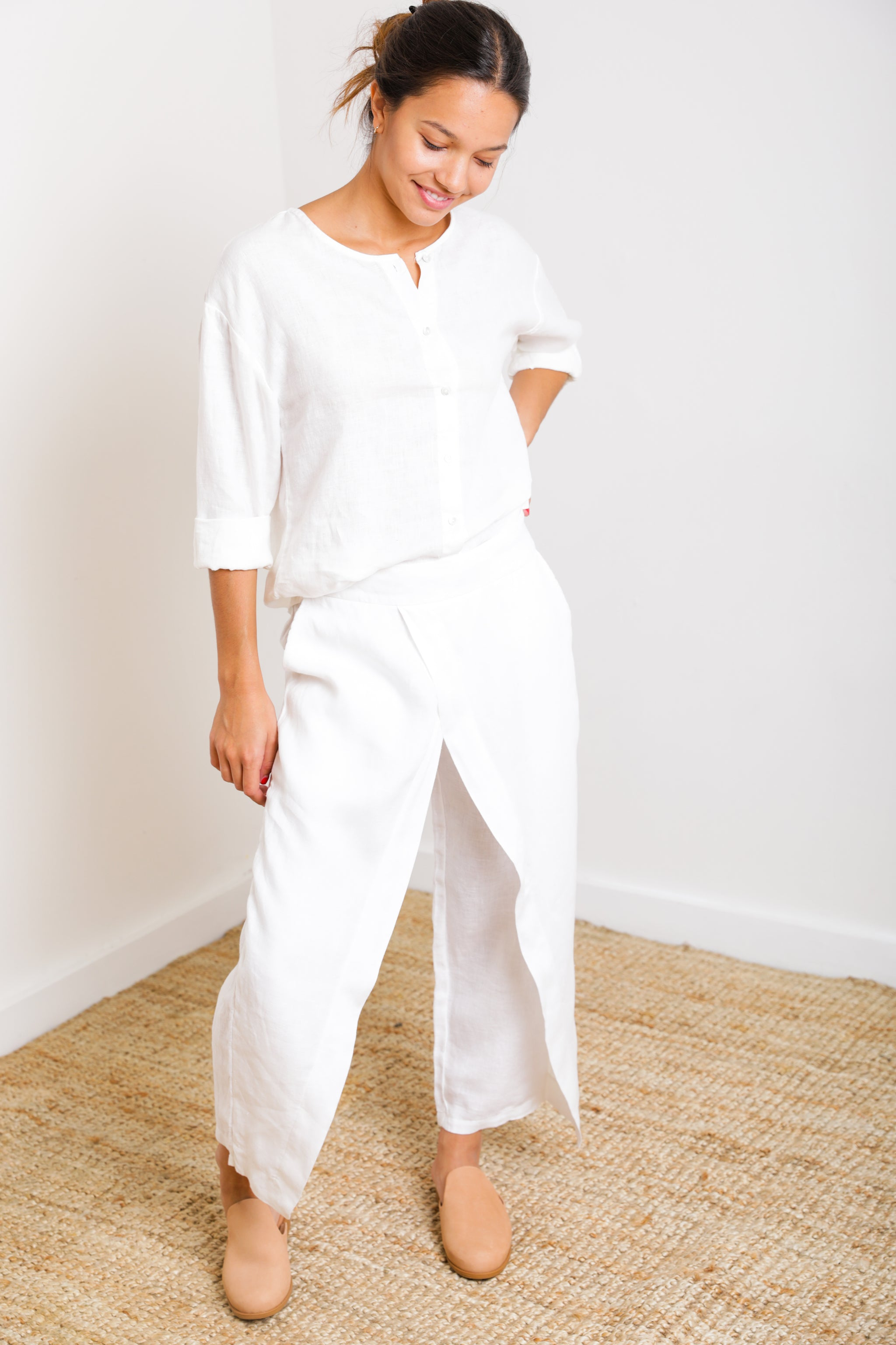 Ibiza Crossover Pant in White Linen