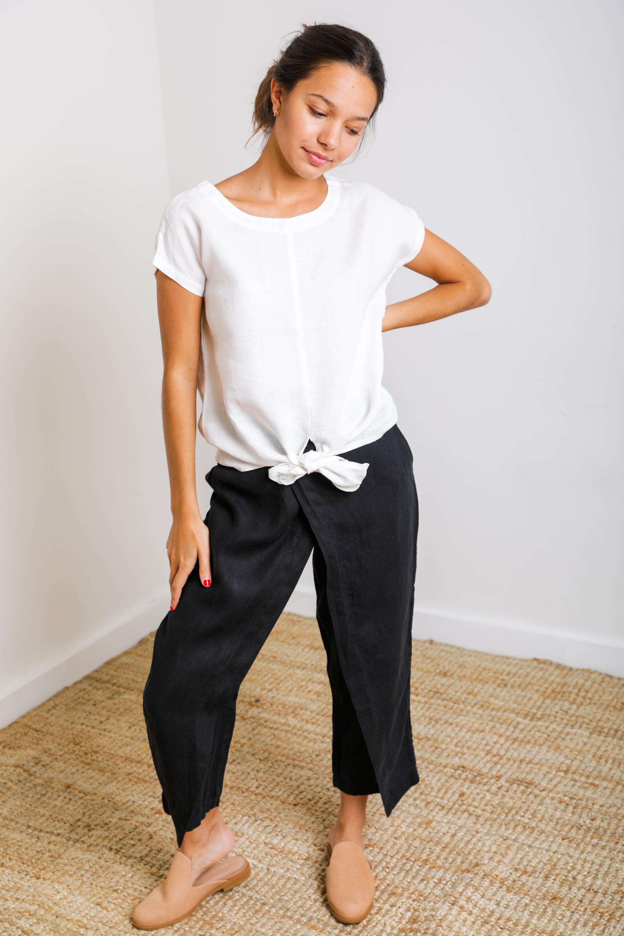 Ibiza Crossover Pant in Black Linen