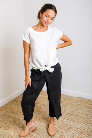 Gypsy Flare Pant in Black Linen