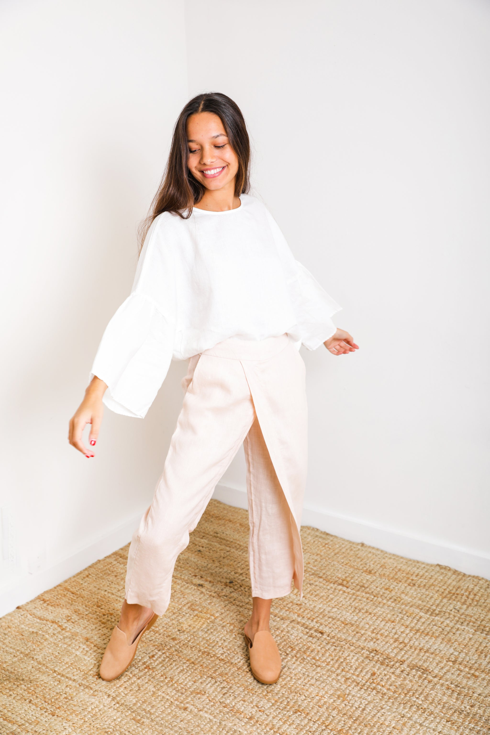 Ibiza Crossover Pant in Old Pink Linen