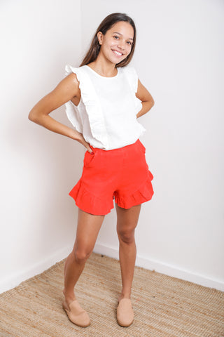 Dubai Ruffle Top in Red Linen