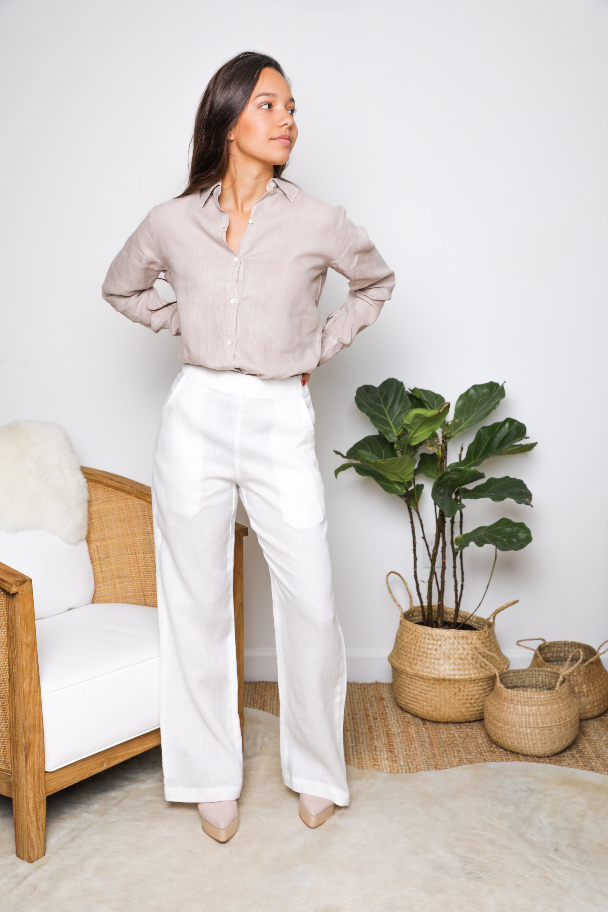 Helena Classic Pant in White Linen