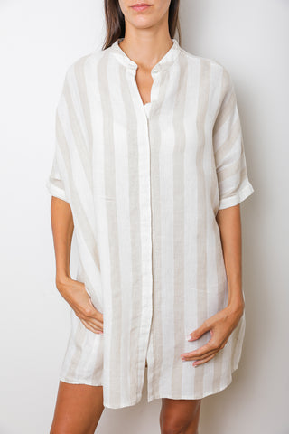 St Tropez Maxi Shirtdress with Mao Collar in Beige Stripes Linen