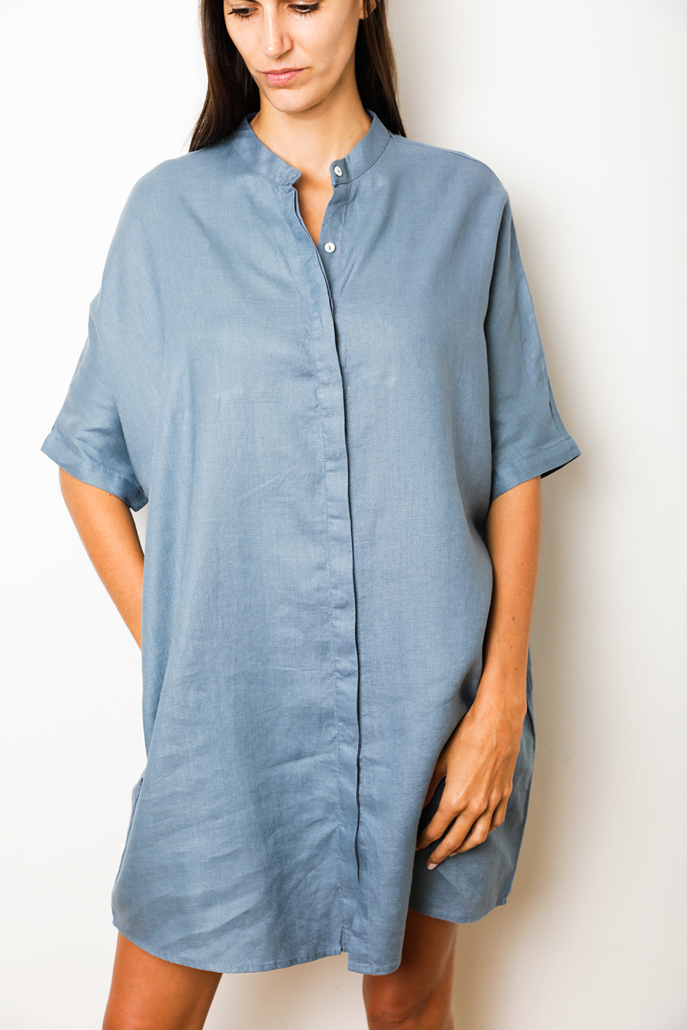 Shirt Dress in Petrol Linen