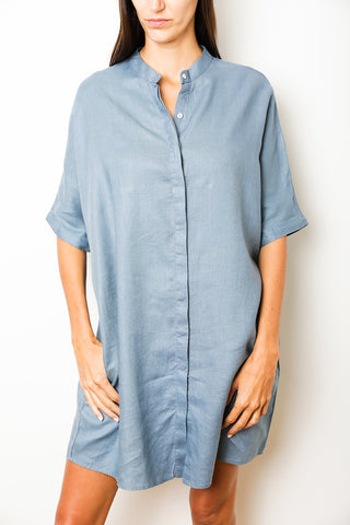 St Tropez Maxi Shirtdress with Mao Collar in Blue Stripes Linen