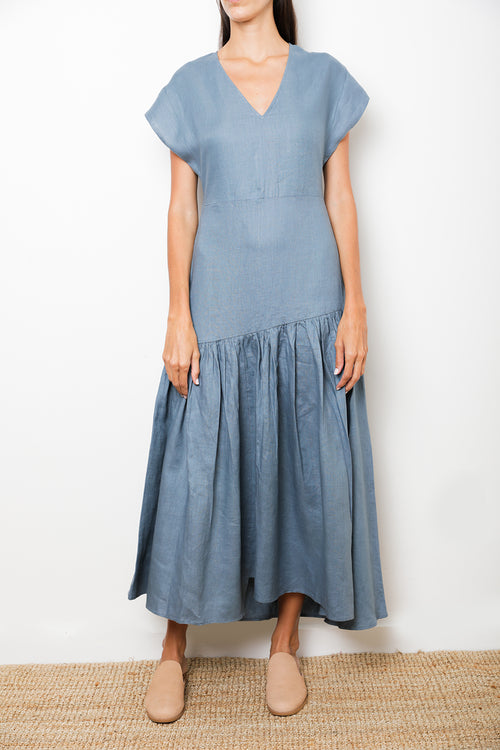 Petrol/Blue Maxi Long Dress in 100% Linen V-Neck A-Line Silhouette