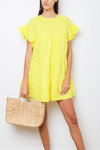 Paris Dress in Lime Linen