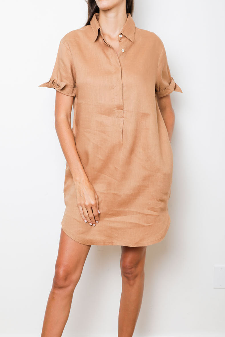Camel Shirt-Dress in 100% Linen with Collar and Short Sleeves