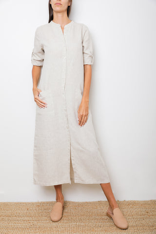 Dalia V-Neck Maxi Dress in Natural Linen