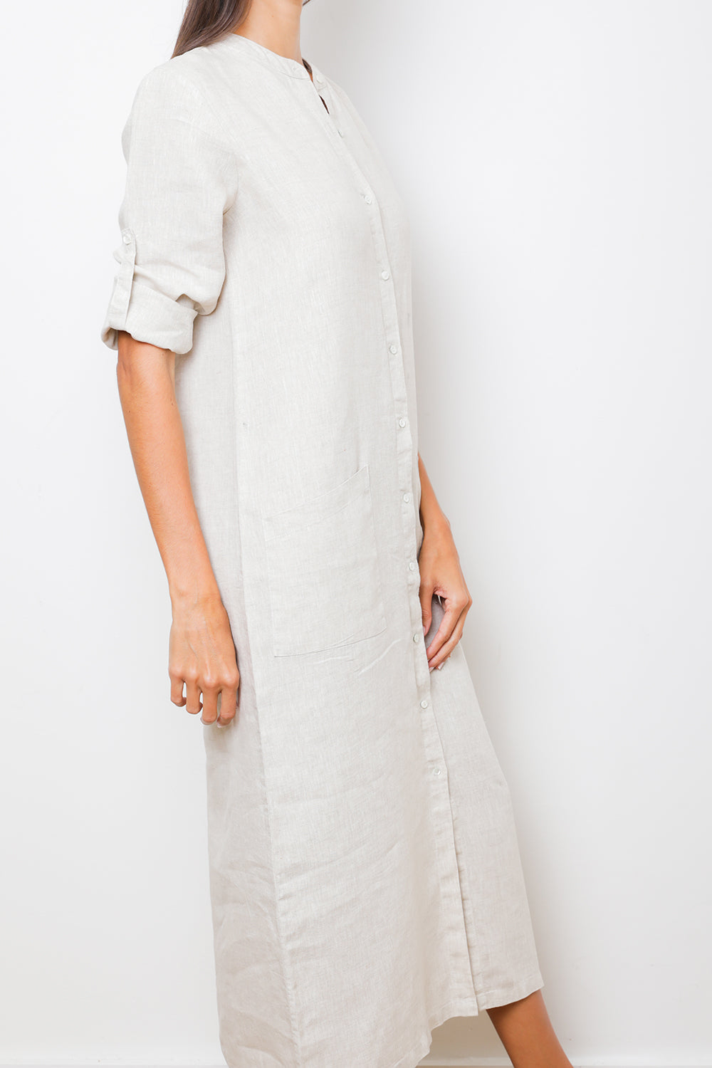 Natural Long Caftan Maxi Shirt-Dress in 100% Linen with Mao Collar