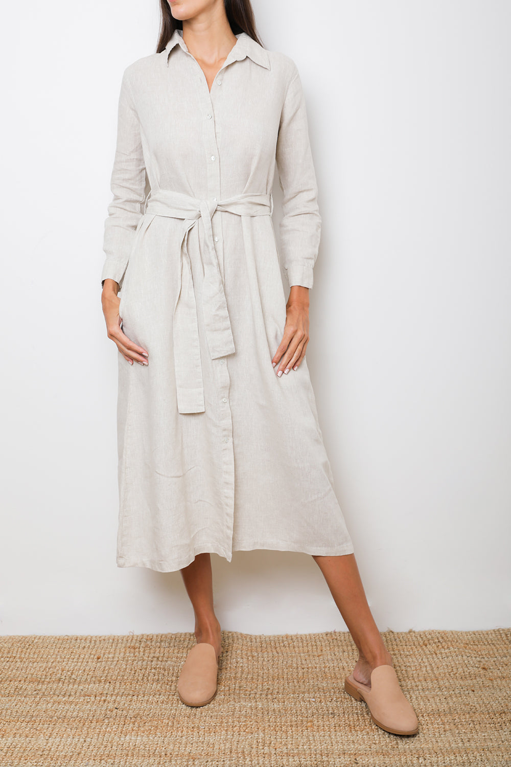 Natural Maxi Shirt-dress 100% Linen Long-Sleeve Belted