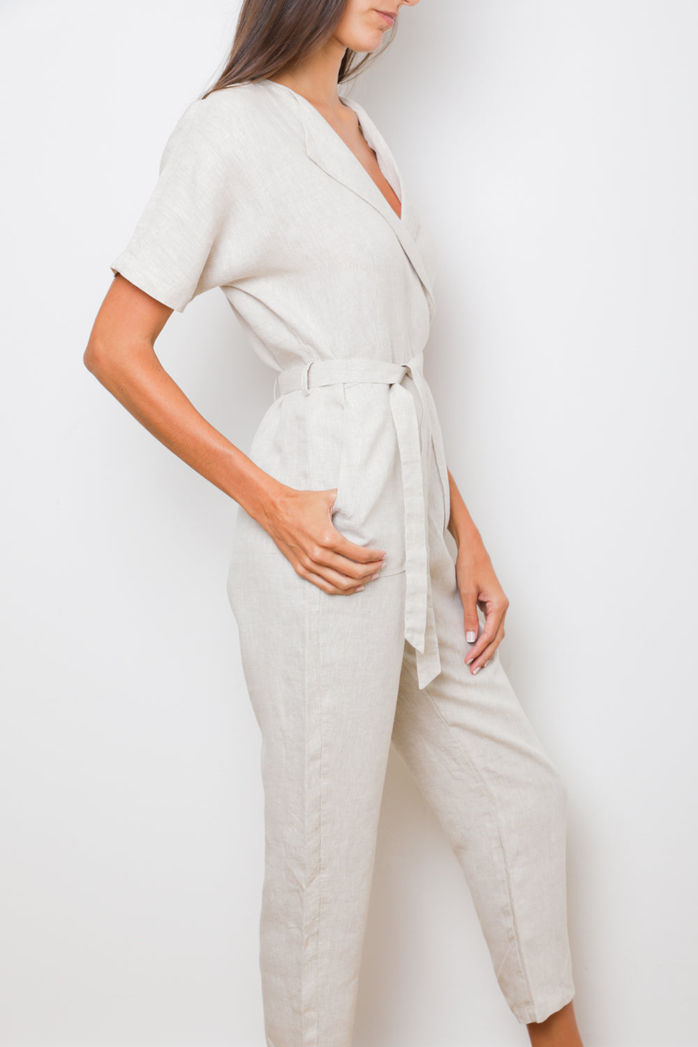 Oma Jumpsuit in Natural Linen