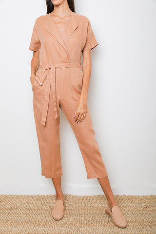Wise Overall Jumpsuit in Camel Linen