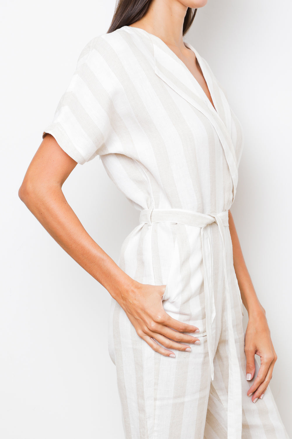 Oma Jumpsuit in Beige Stripes Linen