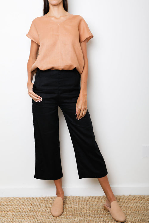 Arctic Pant in Black Linen
