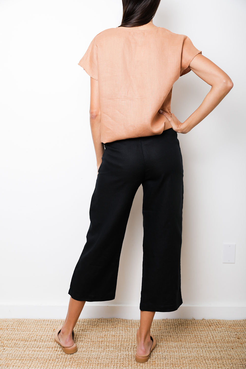 Artic Pant in Black Linen